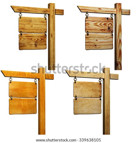 Collection of wooden signboards. Objects isolated on white background - stock photo