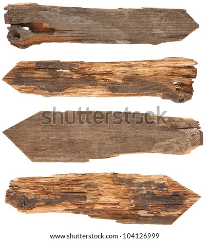 collection of wooden signs on white background - stock photo