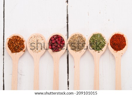 Collection of wooden spoons with spices