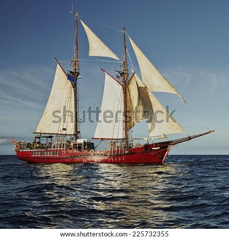 Collection of yachting and sailing. Sailing ship - stock photo