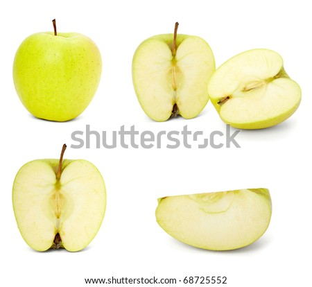 collection of  yellow apple slices on white background. each one is shot separately - stock photo