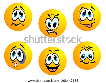 Collection of yellow emoticons showing a range of expressions including anger, bashful, happy, perplexed, shocked, worried and resigned ignorance isolated on white - stock photo