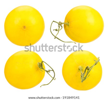 collection of yellow melon isolated on white background