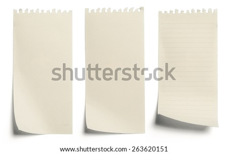 collection of yellow note papers on white background - stock photo