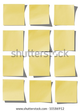 Collection of yellow notes. - stock photo