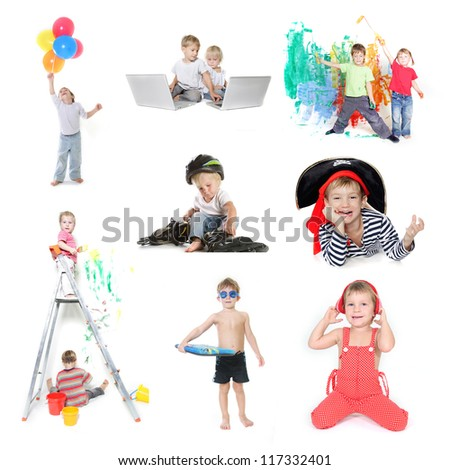 collection of young children - boy and girl - isolated over white - stock photo