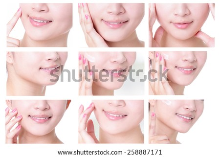 collection of young woman mouth close up with empty copy space isolated on white background, asian girl