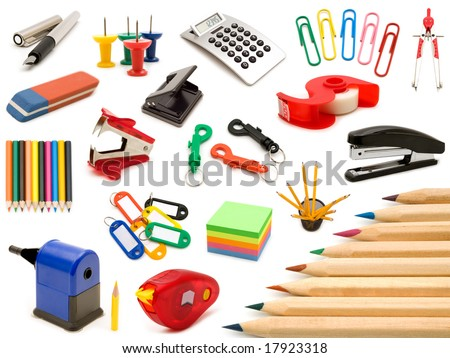 collection office tools on white background - stock photo