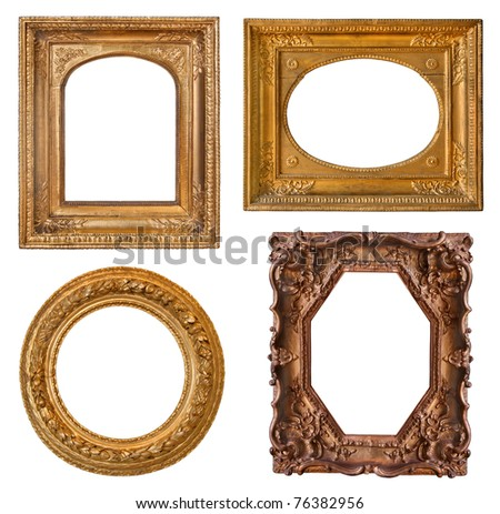 Collection old golden frames with decorative pattern and beautiful carving