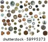 collection old rusty Screw heads, bolts, steel nuts,old metal nail, isolated on white background - stock photo