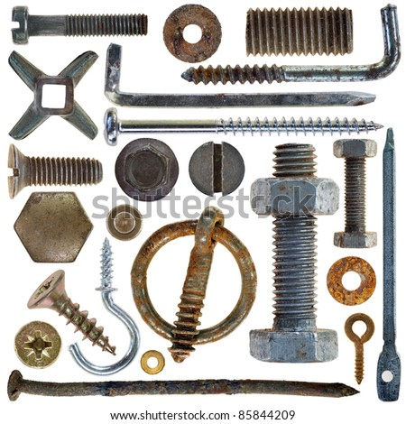 collection old rusty screw heads bolts steel nuts old metal nail isolated on white background - stock photo