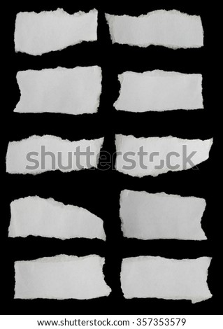 collection paper torn or ripped pieces of paper in black background