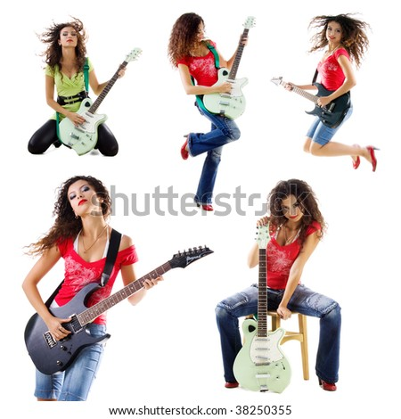Collection photos of a cute guitarist woman isolated on white - stock photo