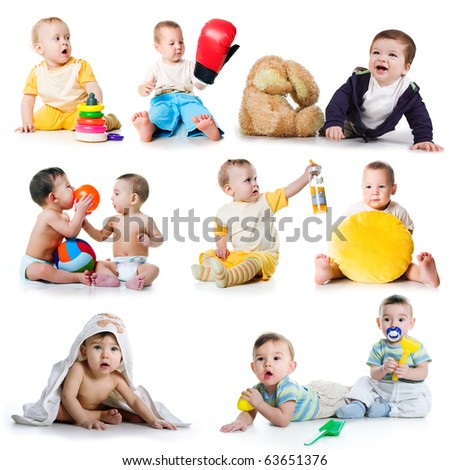 Collection photos of a toddlers on white background - stock photo