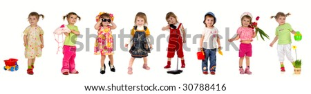 Collection photos of cute little girl on white background - stock photo