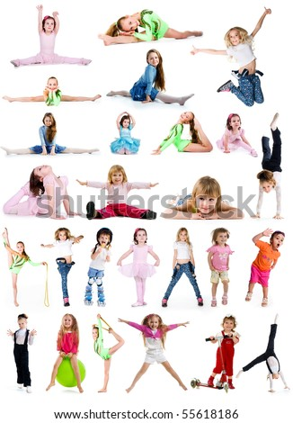 Collection photos of cute little girls on white background - stock photo