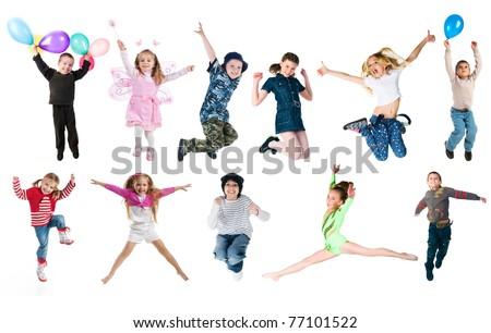 Collection photos of jumping kids. Studio shot - stock photo