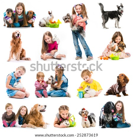 collection photos of young children with dogs and rabbits on a white background - stock photo