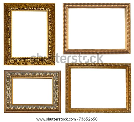 Collection picture gold frames with a decorative pattern - stock photo