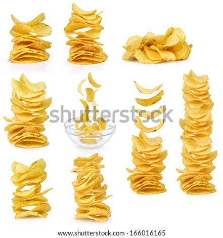 Collection potato chips isolated on white background - stock photo