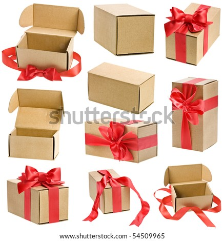 collection present boxes  with red ribbon bows isolated on white - stock photo