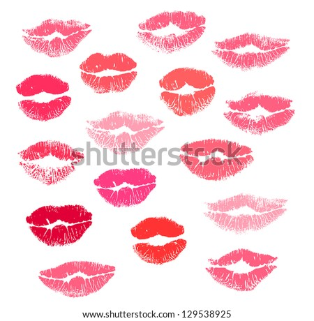 Collection print of lips isolated on white background