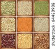 Collection products, pea, kidney beans, pumpkin seed - stock photo