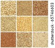 Collection products, wheat, barley, millet, oat, pea, peanuts, pumpkin seed - stock photo