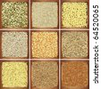 Collection products, wheat, peas, rice, oat, seed, pasta, millet, pumpkin - stock photo