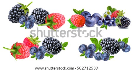 Collection(Raspberries, strawberries, blackberries, blueberries, blueberry) of berry isolated on white background