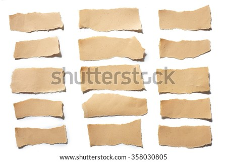 collection real brown paper torn or ripped pieces of paper in white background  - stock photo