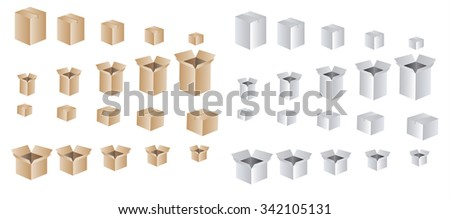 Collection recycle brown box packaging. vector illustration. Box, box, box, box, box, box, box, box, box, box, box, box, box, box, box, box, box, box, box, box, box, box, box, box, box, box, box, box - stock photo