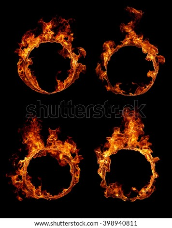 Collection Ring of fire isolated on black background  - stock photo