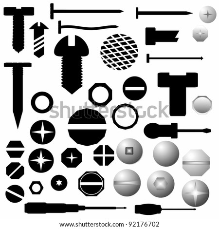 Collection Screw heads, bolts, steel nuts, metal nail, screwdriver isolated on white background, texture - stock photo