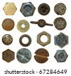 Collection Screw heads, bolts, steel nuts,old metal nail, isolated on white background - stock photo