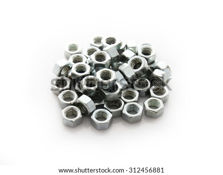 Collection  screw nuts on white background concept