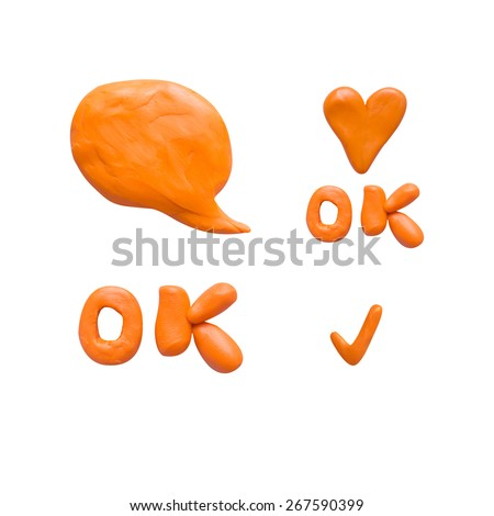 Collection set icon speech bubbles,orange icon, heart, hand made clay plasticine - stock photo