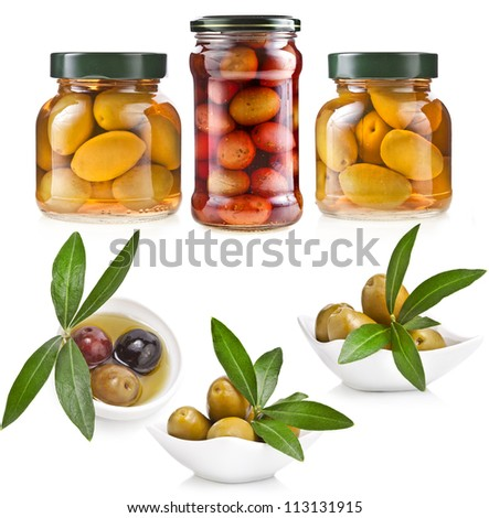 Collection set of assorted pickled olives and olive tree branch isolated on a white background - stock photo