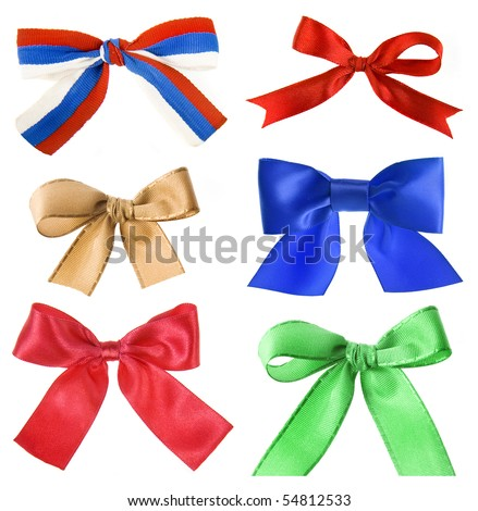 collection set of beautiful colorful ribbon bow isolated on white background - stock photo