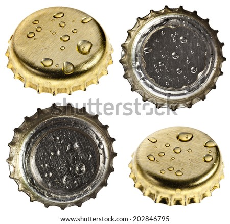 Collection set of beer bottle cap close up macro Isolated on white background - stock photo