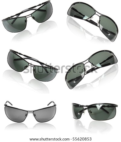Collection  (set) of black men sunglasses isolated on white background. - stock photo