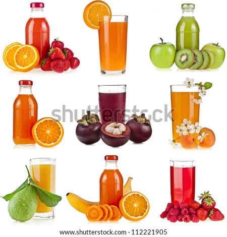 Collection set of Bottles glass juice of fresh berries and fruits isolated on white background - stock photo