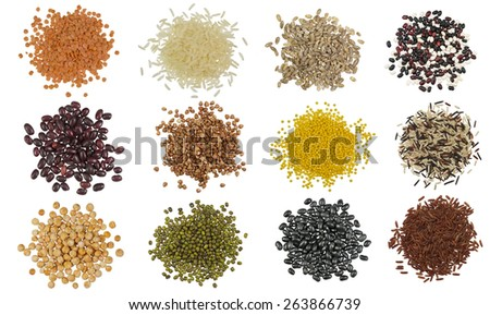 Collection Set of Cereal Grains and Seeds Heaps - stock photo