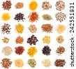 Collection Set of Cereal Grains and Seeds Heaps: Rye, Wheat, Barley, Oat, Corn, Flax, Millet, Rice, Buckwheat, Quinoa closeup isolated on white background - stock photo