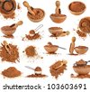 Collection set of cocoa powder isolated on white background - stock photo