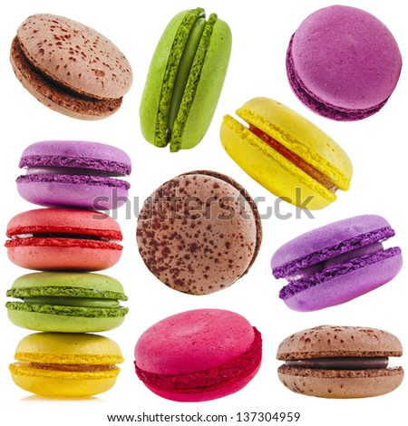 collection set of Colorful assorted macaroons  isolation on a white background - stock photo