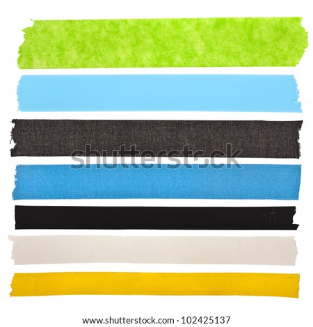 collection set of  colorful  strips adhesive insulating tape or different colored stickers, close up , isolated on white background