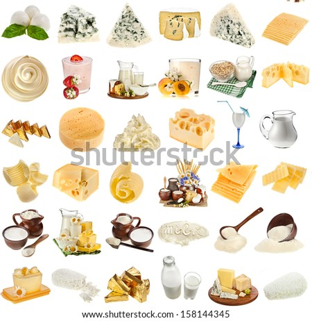 collection set of dairy milk produce, cheese,curd, cottage  close up isolated on white background - stock photo