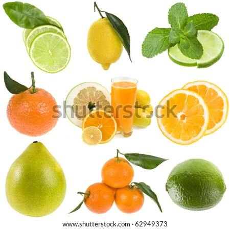 collection set of fresh citrus isolated on the white background - stock photo