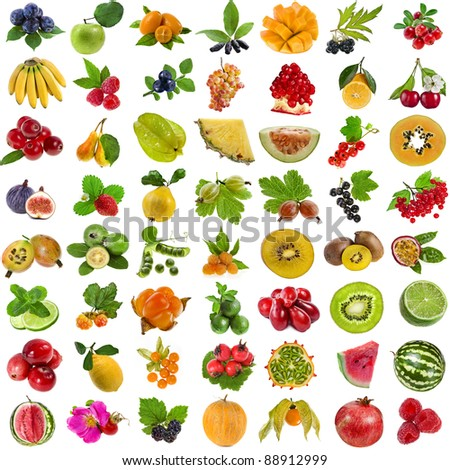 collection set of fresh juicy fruits and berries isolated on white background - stock photo